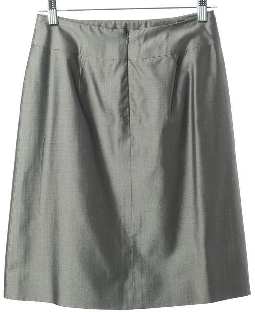 AKRIS Gray Silk Blend Above Knee A-Line Skirt