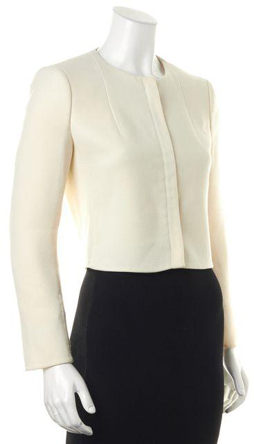 AKRIS Ivory Wool Zip Up Cropped Basic Jacket