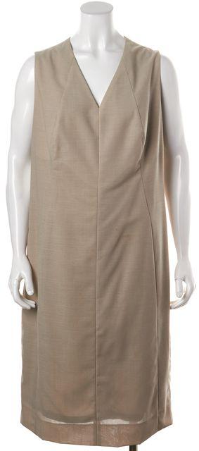 AKRIS Beige Wool V-Neck Sleeveless Knee-Length Shift Dress