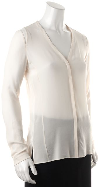 AKRIS Ivory Silk Mesh Trim Long Sleeve Semi Sheer Blouse Top