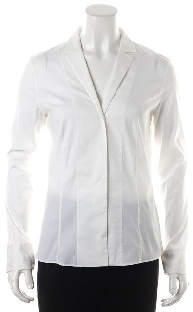 AKRIS White Long Sleeve Snap Front Blouse Top