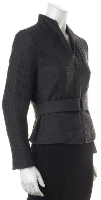 AKRIS Charcoal Gray Perforated Wool Belted Zip Up Blazer Jacket