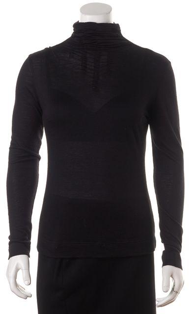 AKRIS Black Cashmere Long Sleeve Ruched Turtleneck Top