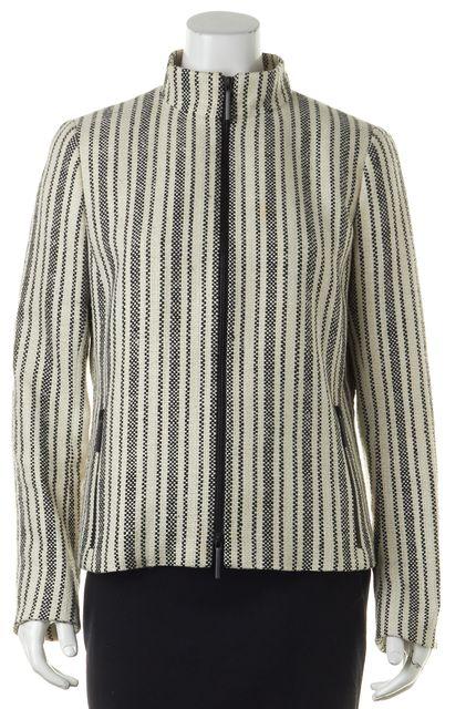 AKRIS White Black Silk Knit Zipped Basic Jacket