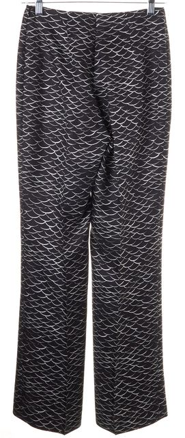 AKRIS Black White Abstract Print Silk Pleated Trouser Dress Pants