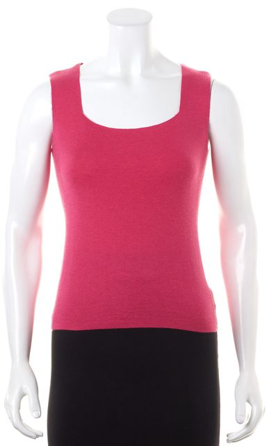AKRIS Hot Pink Cashmere Square Neck Sleeveless Knit Top