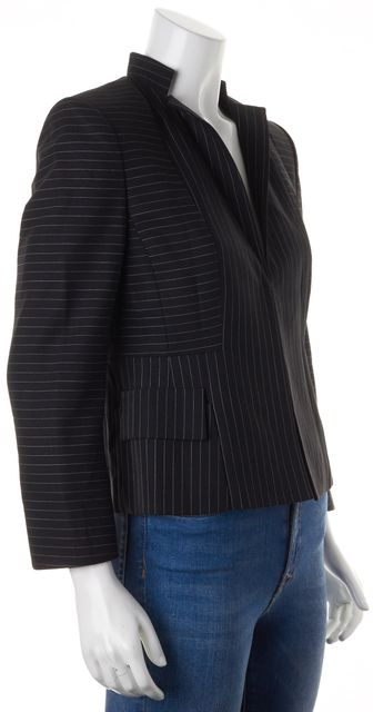 AKRIS Black Pinstriped Wool Hidden Hook Closure Basic Jacket