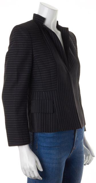 AKRIS Black Pinstriped Wool Hidden Hook Closure Basic Jacket