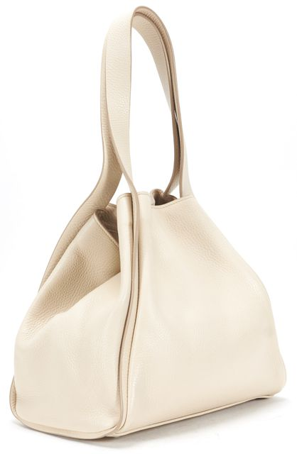 AKRIS Cream Pebbled Leather Alex Tote Shoulder Bag