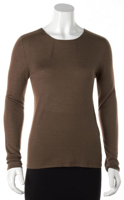 AKRIS Brown Cashmere Long Sleeve Knit Top