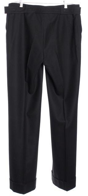 AKRIS Black Wool Cuffed Wide Leg Dress Pants