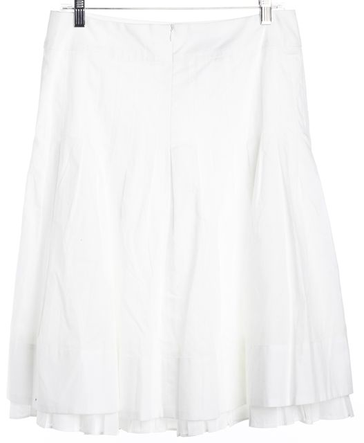AKRIS Cream White Pleated Embroidered Detail A-Line Skirt