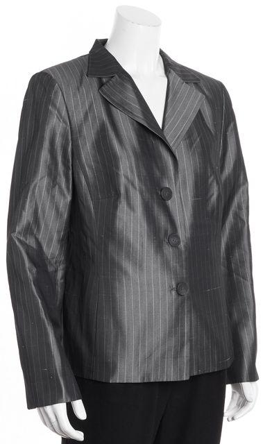 AKRIS Gray White Striped Silk Career Blazer