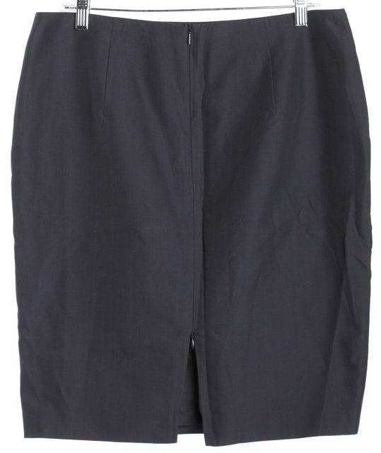 AKRIS Navy Blue Slit Detail Pencil Skirt