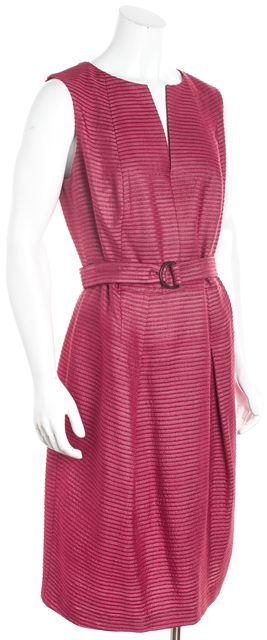 AKRIS Red Silk Sleeveless With Belt Sheath Dress