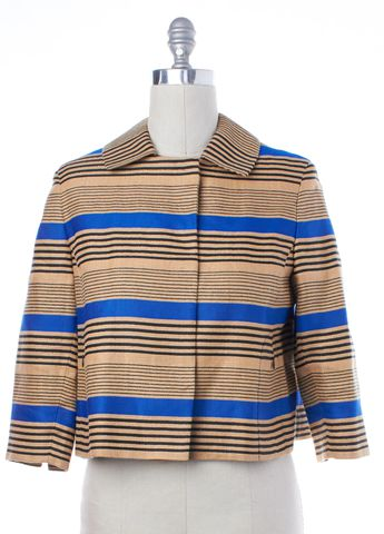 AKRIS PUNTO Beige Blue Striped Linen Snap Button Up Jacket