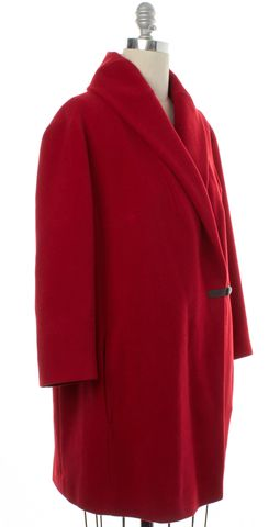 AKRIS PUNTO Red Wool Trench Coat Size 12