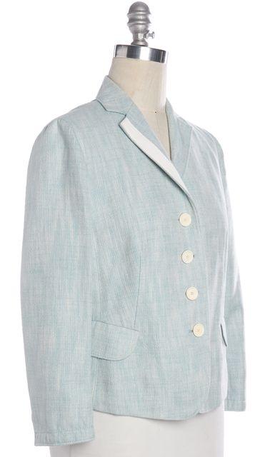 AKRIS PUNTO Blue White Contrast Stitch Blazer