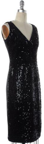 AKRIS PUNTO Black Sequin Embellished V-Neck Sheath Dress