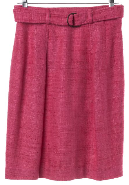 AKRIS PUNTO Pink Tweed Silk Pleated Straight Skirt