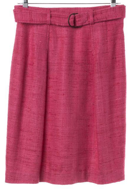 AKRIS PUNTO Pink Tweed Silk Pleated Straight Skirt