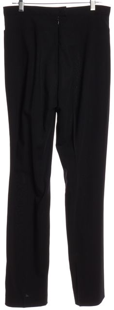 AKRIS PUNTO Black Wool Staight Leg Pleated Trousers Pants