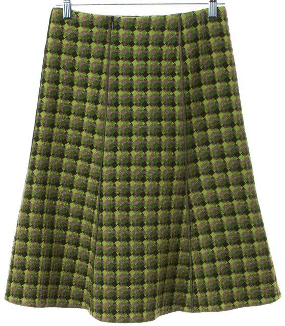 AKRIS PUNTO Green Brown Plaids Wool A-Line Skirt