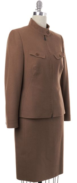 AKRIS PUNTO Brown Wool Zip Blazer Skirt Suit Set