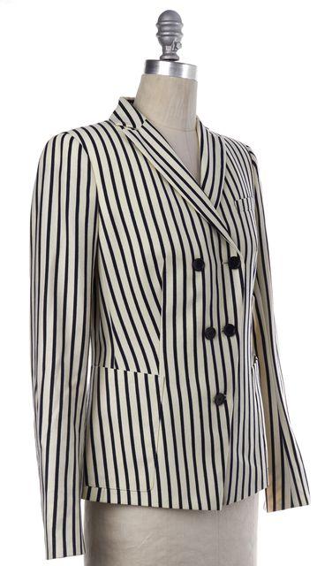AKRIS PUNTO Ivory Navy Blue Striped Wool Blazer
