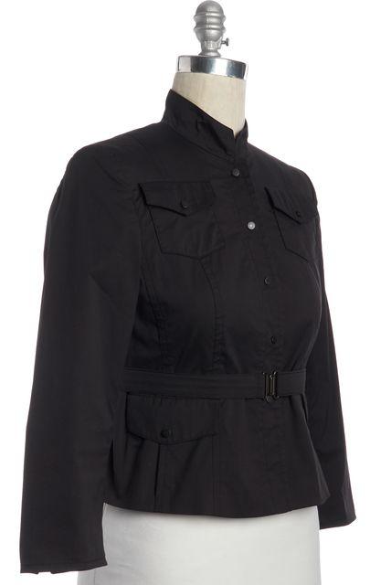 AKRIS PUNTO Black Button Down Belted Jacket