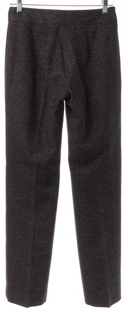 AKRIS PUNTO Gray Chevron Wool Blend Pleated Trouser Dress Pants
