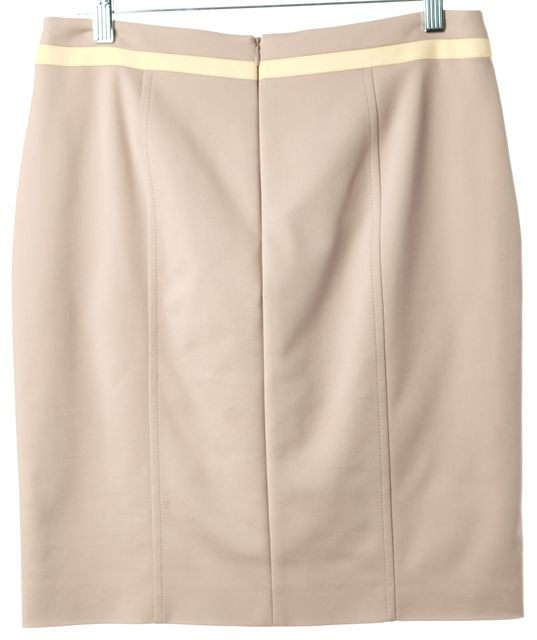AKRIS PUNTO Beige Yellow White Front Pocket Above Knee Straight Skirt