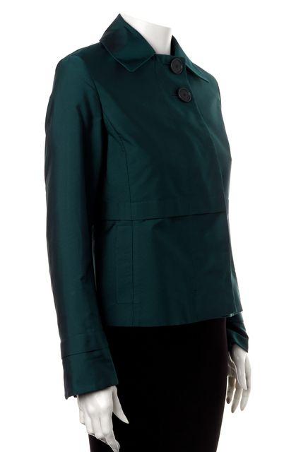 AKRIS PUNTO Teal Blue Button Front Cropped Basic Jacket
