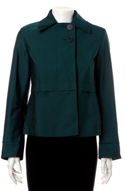 AKRIS PUNTO Teal Blue Button Front Cropped Basic Jacket