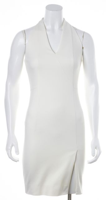 AKRIS PUNTO Ivory Casual Split Front Open Knit Perforated Back Sheath Dress