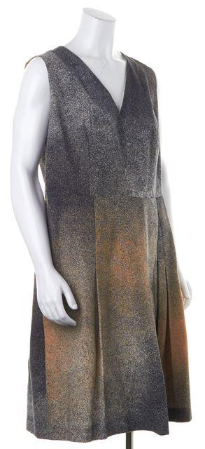 AKRIS PUNTO Black Beige Abstract Sleeveless Pleated Fit & Flare Dress