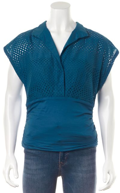 AKRIS PUNTO Blue Cotton Embroidered Perforated Jersey Combo Blouse