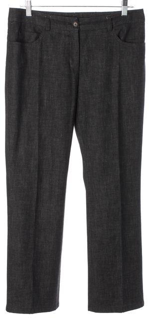 AKRIS PUNTO Black Cotton Denim Pleated Wide Leg Trousers Pants