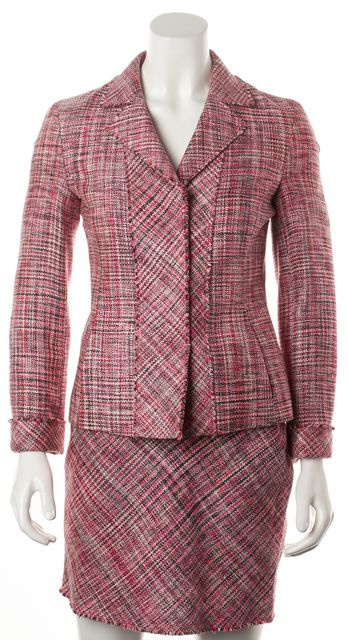 AKRIS PUNTO Pink White Tweed Silk Frayed Hem Skirt Suit Set Size 4 Top 6 Bottom