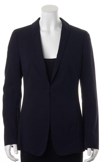 AKRIS PUNTO Navy Blue Wool Hidden Closure Side Pockets Blazer