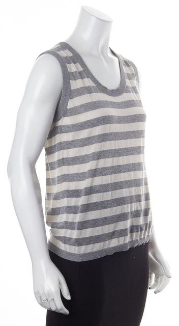 AKRIS PUNTO Gray White Striped Sleeveless Knit Top