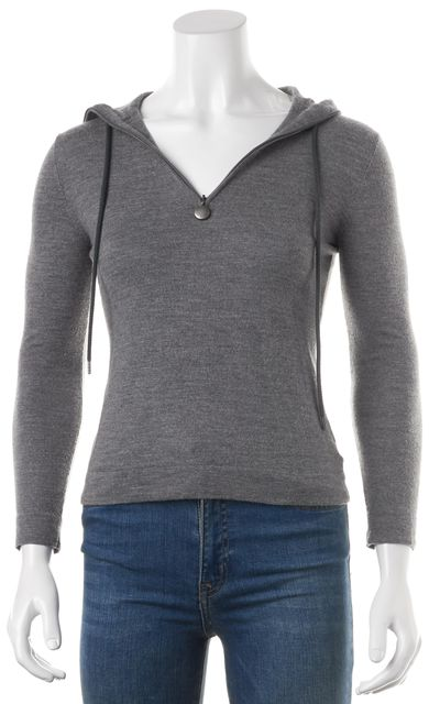 AKRIS PUNTO Gray Wool 1/2 Zip Pull Over Cropped Hooded Sweater