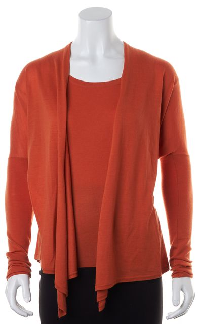 AKRIS PUNTO Orange Wool Lightweight Knit Tank Open Cardigan Set