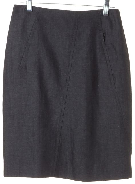 AKRIS PUNTO Gray Wool Straight Skirt