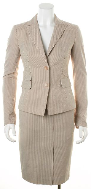 AKRIS PUNTO Brown White Striped Double Button Pencil Skirt Suit Set
