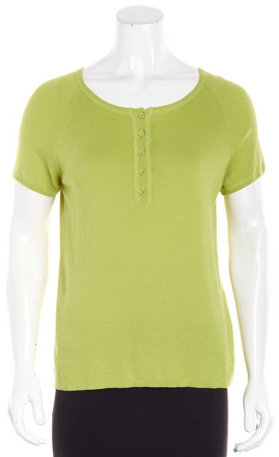 AKRIS PUNTO Olive Green Cap Sleeve Swoop Neck Button Down Blouse