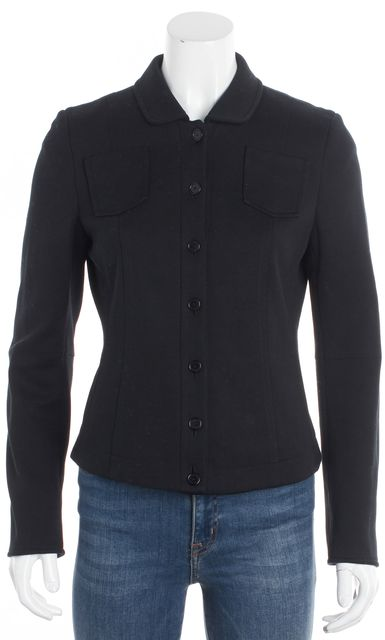 AKRIS PUNTO Black Long Sleeve Seam Pockets Basic Button Down Jacket
