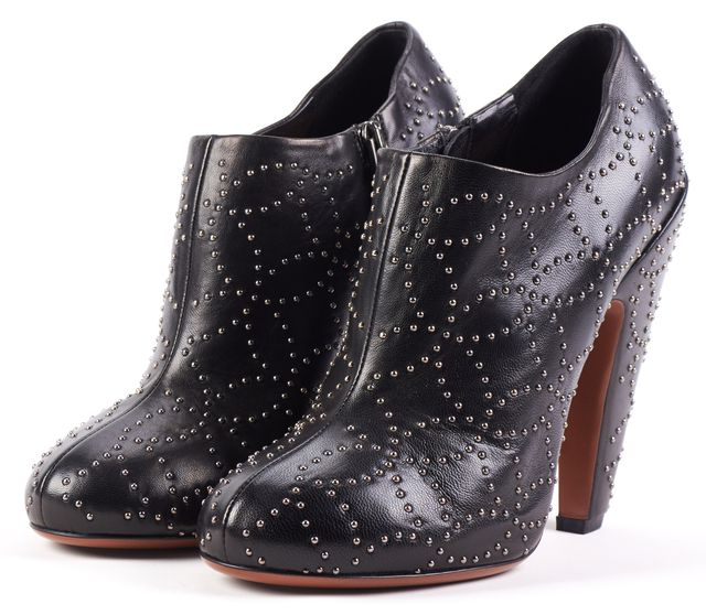 ALAÏA Black Stud Embellished Leather Ankle Booties