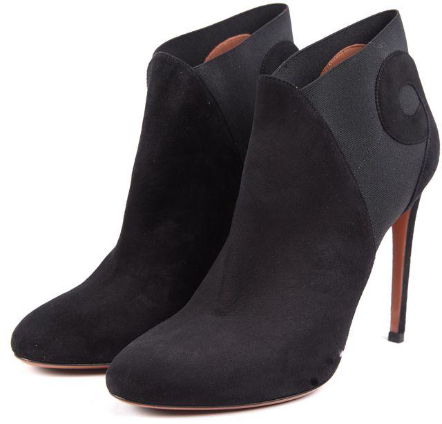 ALAÏA Black Suede Round Toe High-Heel Ankle Booties Size 39.5 US 9.5