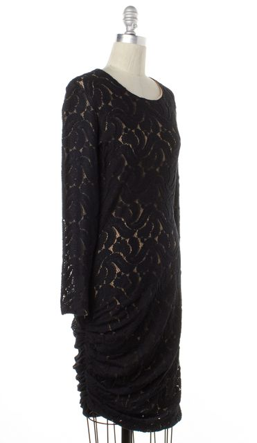 A.L.C. Black Knit Lace Draped Long Sleeve Sheath Dress